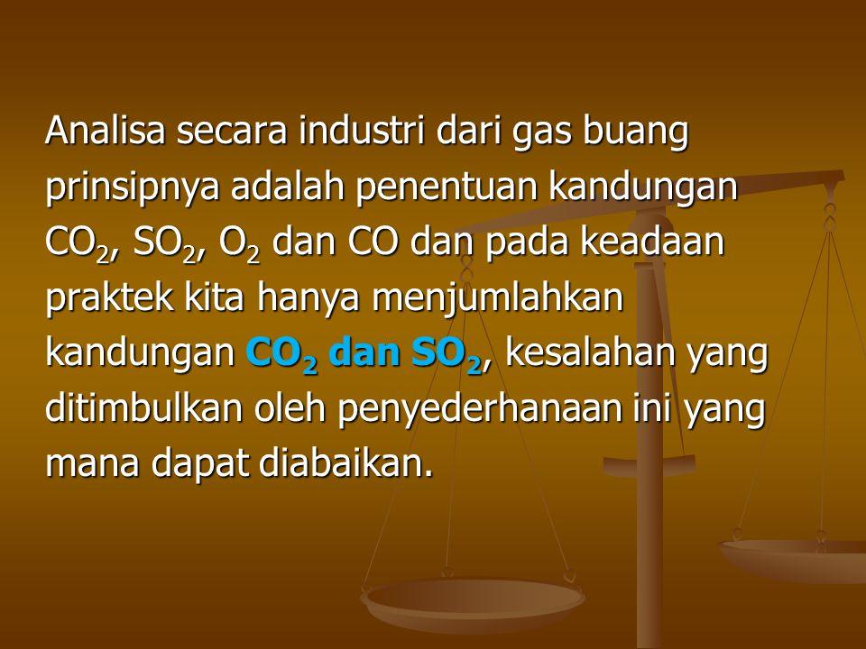 Analisa secara industri dari gas buang prinsipnya adalah penentuan kandungan CO 2, SO 2, O 2 dan CO dan pada keadaan praktek kita hanya menjumlahkan k
