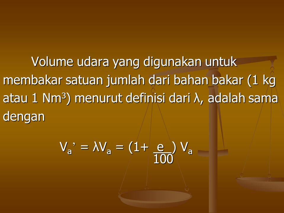 Volume udara yang digunakan untuk membakar satuan jumlah dari bahan bakar (1 kg atau 1 Nm 3 ) menurut definisi dari λ, adalah sama dengan V a ' = λV a