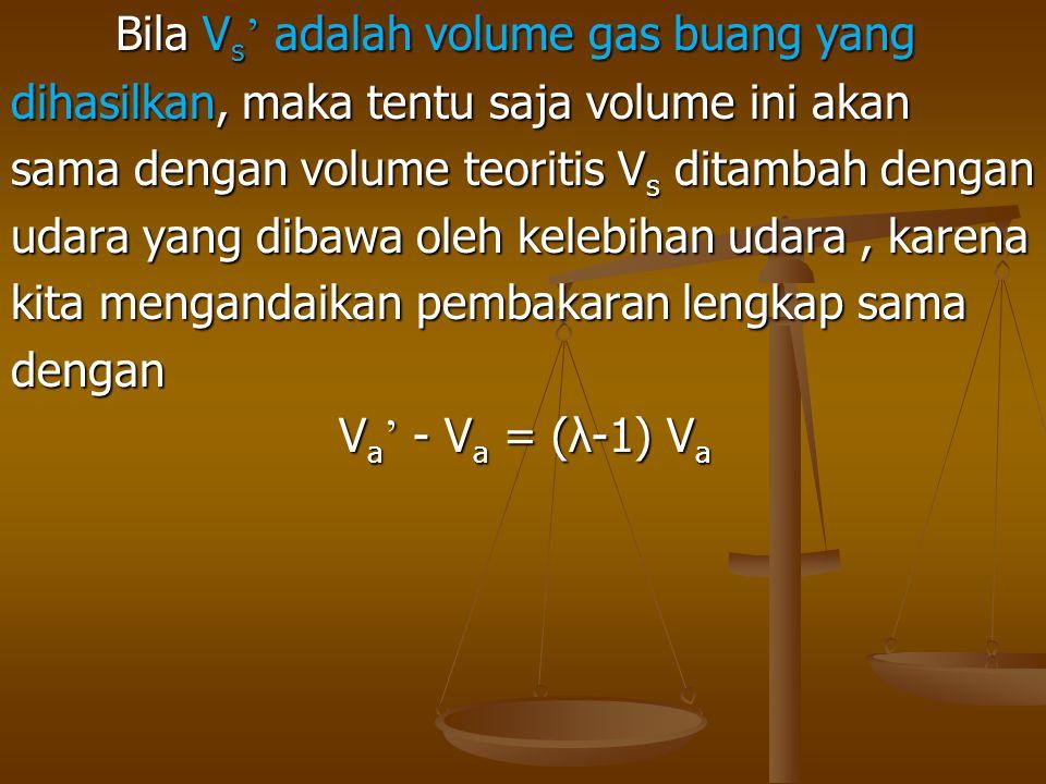 Bila V s ' adalah volume gas buang yang dihasilkan, maka tentu saja volume ini akan sama dengan volume teoritis V s ditambah dengan udara yang dibawa