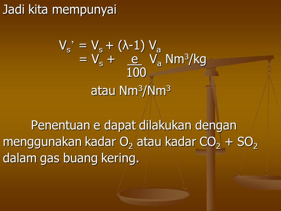 Jadi kita mempunyai V s ' = V s + (λ-1) V a = V s + e V a Nm 3 /kg = V s + e V a Nm 3 /kg 100 100 atau Nm 3 /Nm 3 atau Nm 3 /Nm 3 Penentuan e dapat di