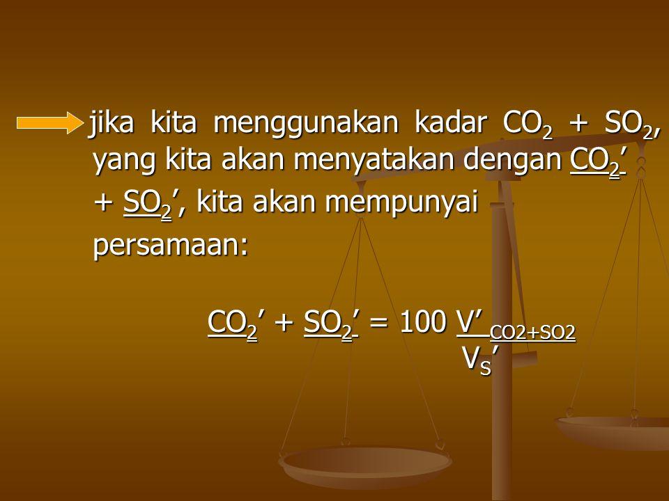 jika kita menggunakan kadar CO 2 + SO 2, yang kita akan menyatakan dengan CO 2 ' jika kita menggunakan kadar CO 2 + SO 2, yang kita akan menyatakan de