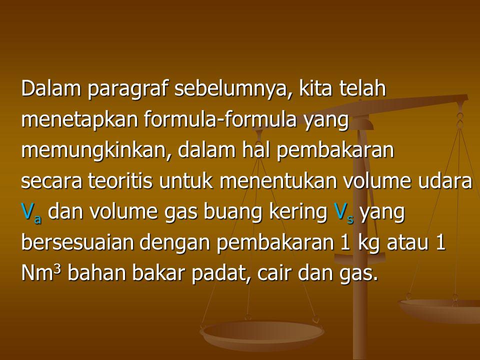 Dalam paragraf sebelumnya, kita telah menetapkan formula-formula yang memungkinkan, dalam hal pembakaran secara teoritis untuk menentukan volume udara