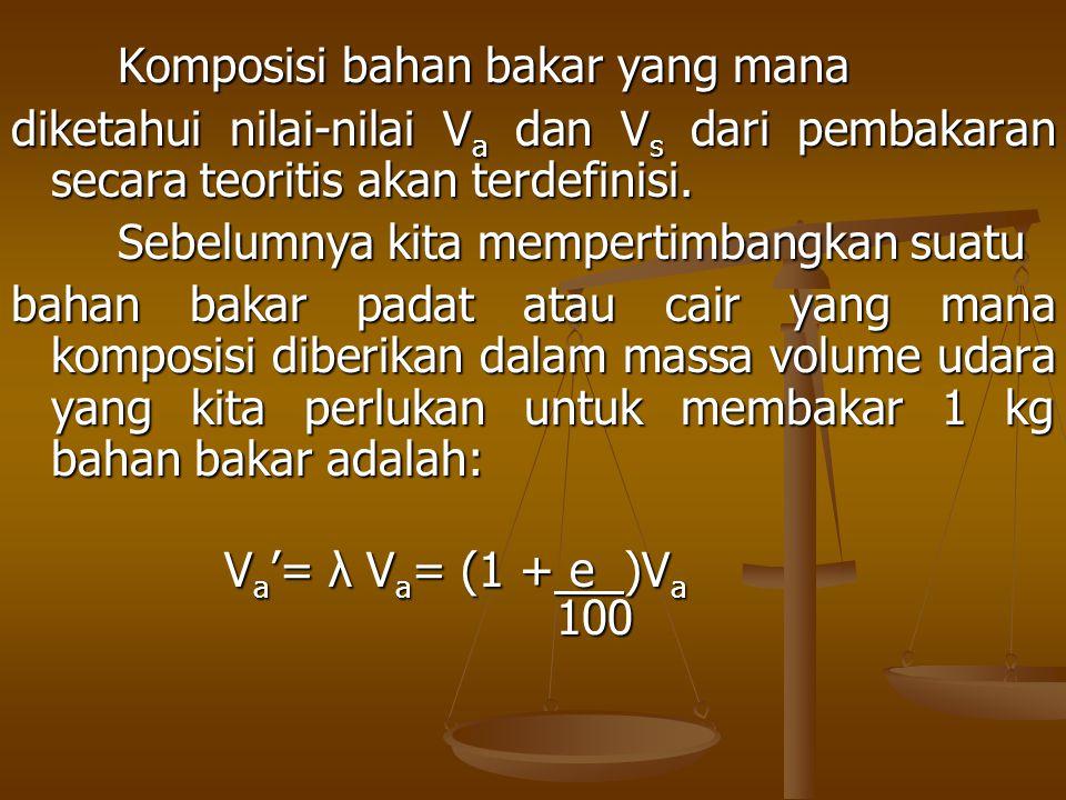Komposisi bahan bakar yang mana diketahui nilai-nilai V a dan V s dari pembakaran secara teoritis akan terdefinisi. Sebelumnya kita mempertimbangkan s
