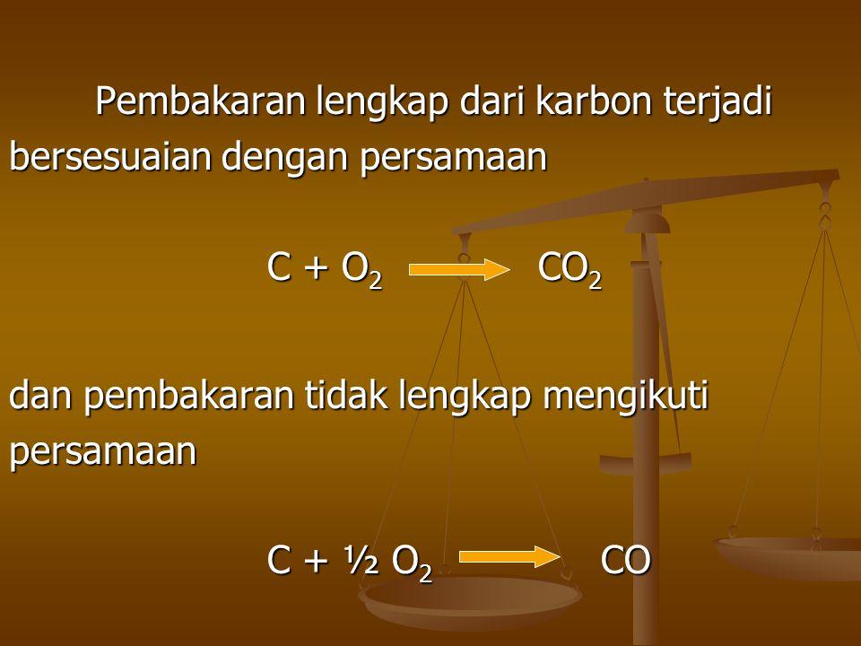 Pembakaran lengkap dari karbon terjadi bersesuaian dengan persamaan C + O 2 CO 2 dan pembakaran tidak lengkap mengikuti persamaan C + ½ O 2 CO