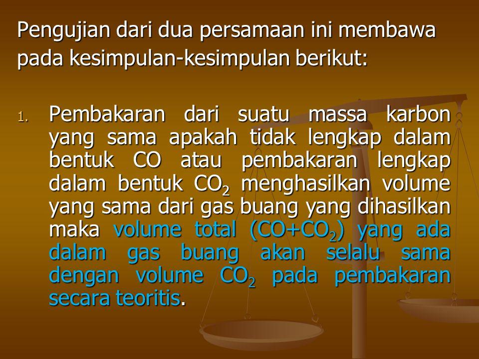 Pengujian dari dua persamaan ini membawa pada kesimpulan-kesimpulan berikut: 1. Pembakaran dari suatu massa karbon yang sama apakah tidak lengkap dala