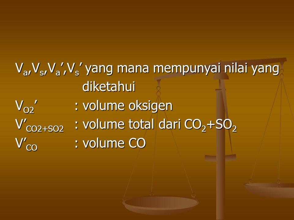 V a,V s,V a ',V s ' yang mana mempunyai nilai yang diketahui diketahui V O2 ': volume oksigen V' CO2+SO2 : volume total dari CO 2 +SO 2 V' CO : volume