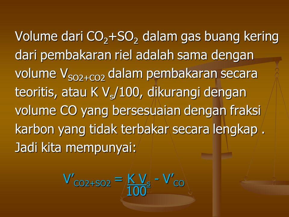 Volume dari CO 2 +SO 2 dalam gas buang kering dari pembakaran riel adalah sama dengan volume V SO2+CO2 dalam pembakaran secara teoritis, atau K V s /1