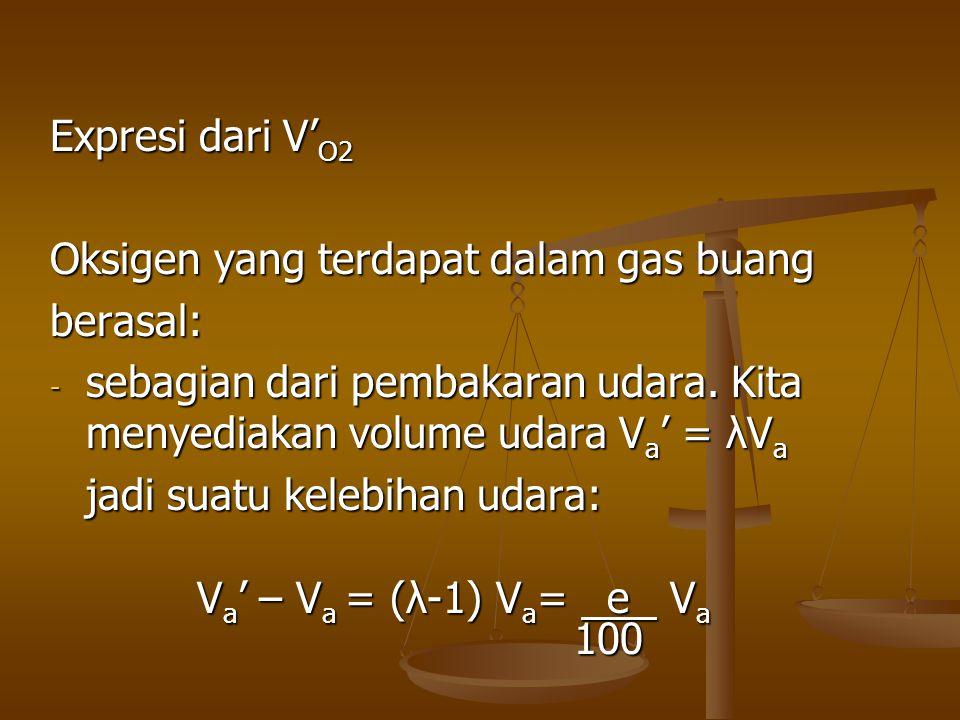 Expresi dari V' O2 Oksigen yang terdapat dalam gas buang berasal: - sebagian dari pembakaran udara. Kita menyediakan volume udara V a ' = λV a jadi su
