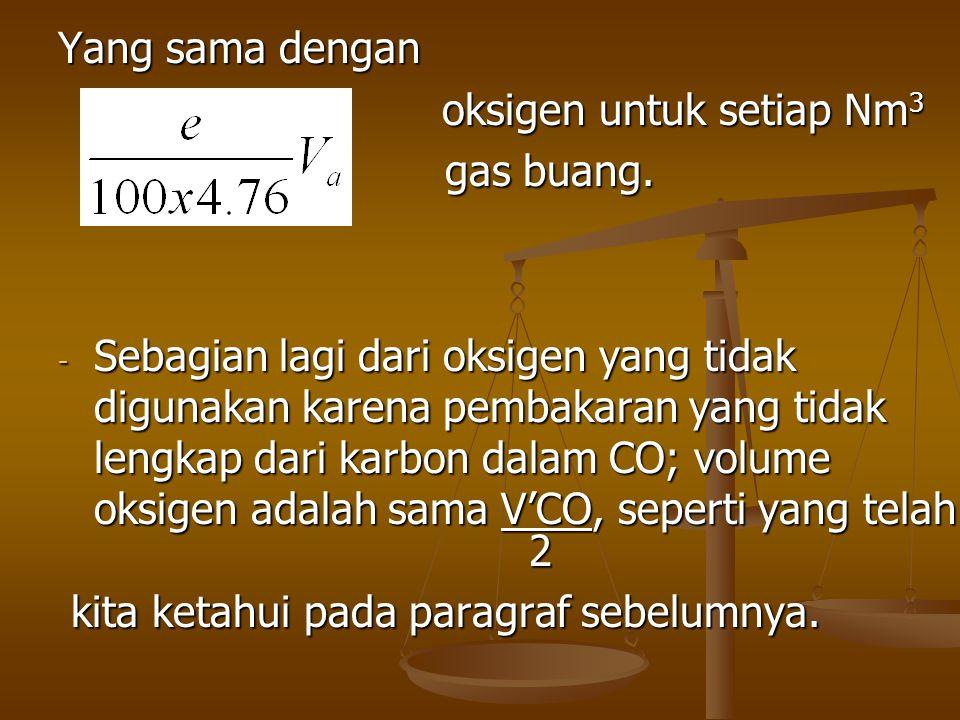 Yang sama dengan oksigen untuk setiap Nm 3 gas buang. gas buang. - Sebagian lagi dari oksigen yang tidak digunakan karena pembakaran yang tidak lengka