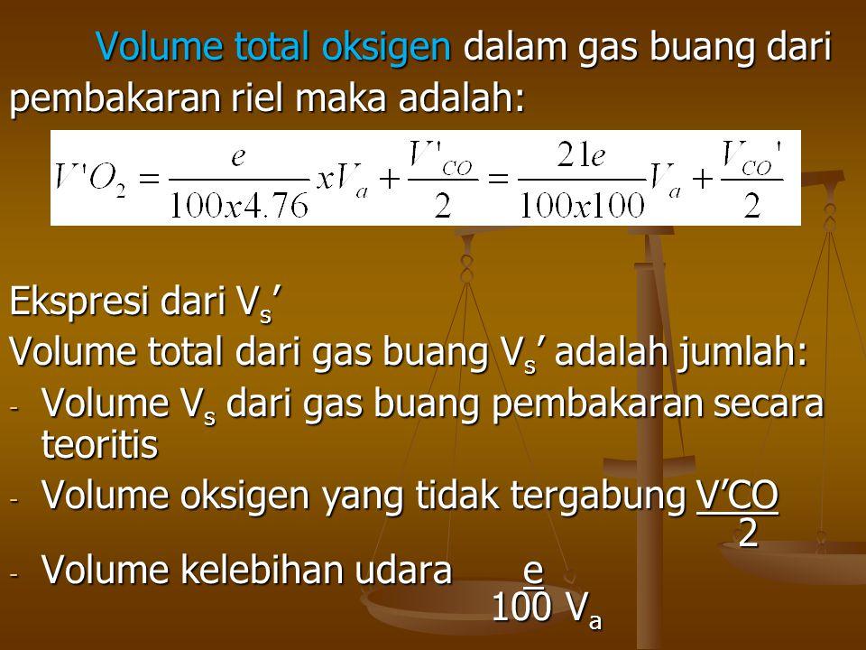 Volume total oksigen dalam gas buang dari pembakaran riel maka adalah: Ekspresi dari V s ' Volume total dari gas buang V s ' adalah jumlah: - Volume V