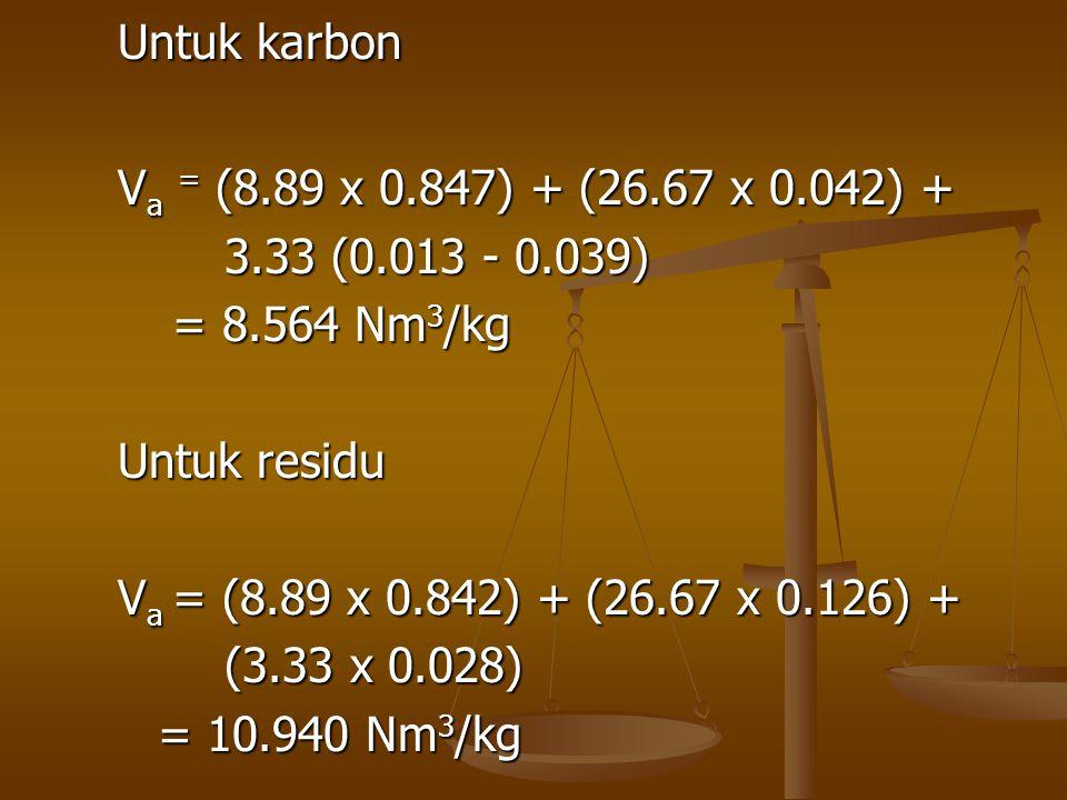 Untuk karbon V a = (8.89 x 0.847) + (26.67 x 0.042) + 3.33 (0.013 - 0.039) = 8.564 Nm 3 /kg = 8.564 Nm 3 /kg Untuk residu V a = (8.89 x 0.842) + (26.6