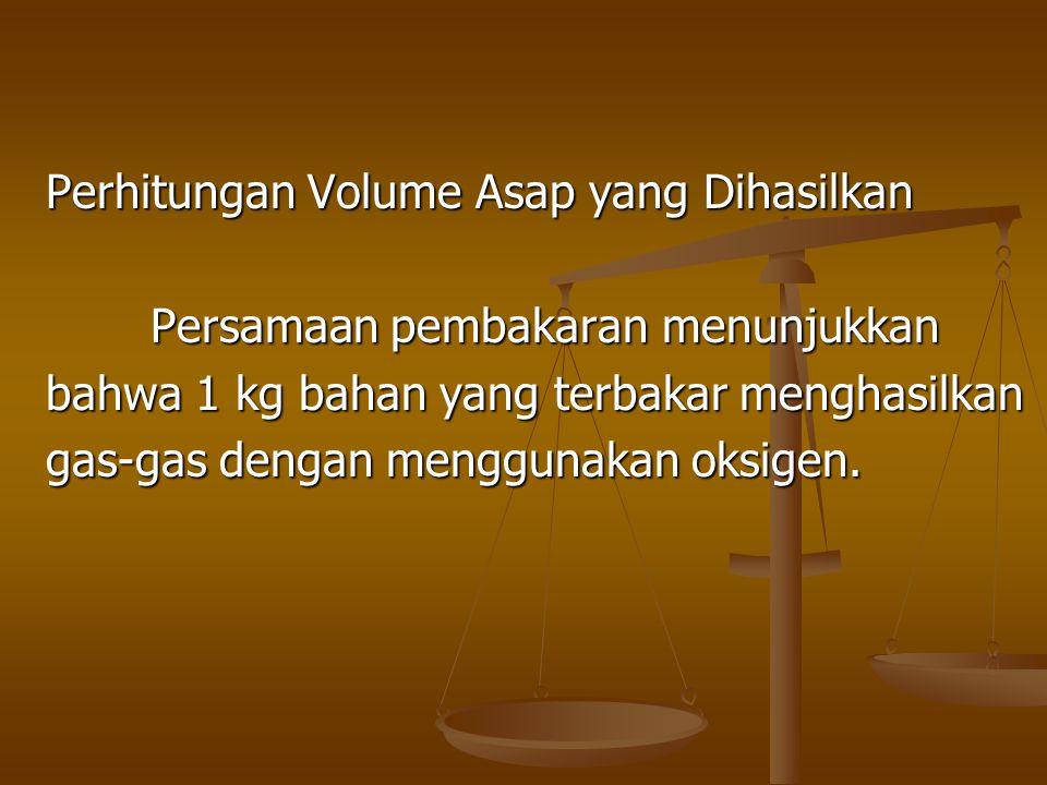 Perhitungan Volume Asap yang Dihasilkan Persamaan pembakaran menunjukkan bahwa 1 kg bahan yang terbakar menghasilkan gas-gas dengan menggunakan oksige