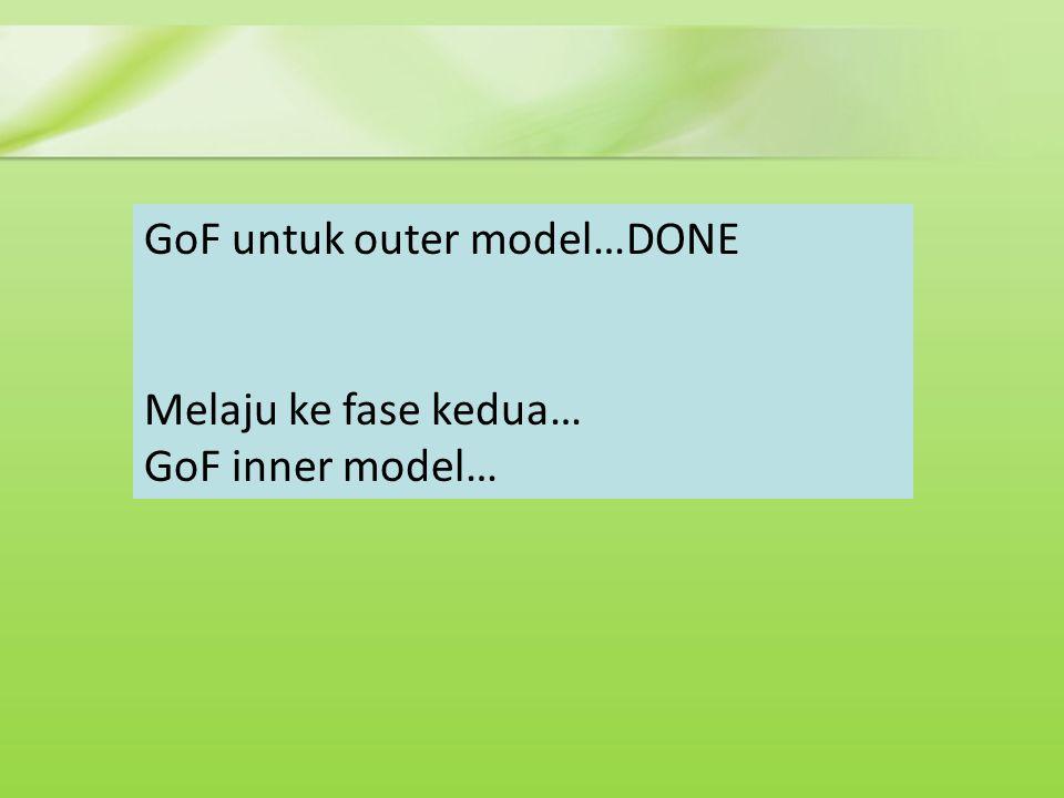 GoF untuk outer model…DONE Melaju ke fase kedua… GoF inner model…