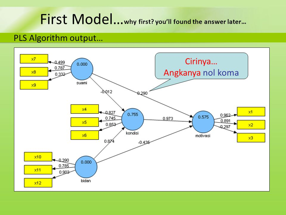 First Model… why first? you'll found the answer later… PLS Algorithm output… Cirinya… Angkanya nol koma