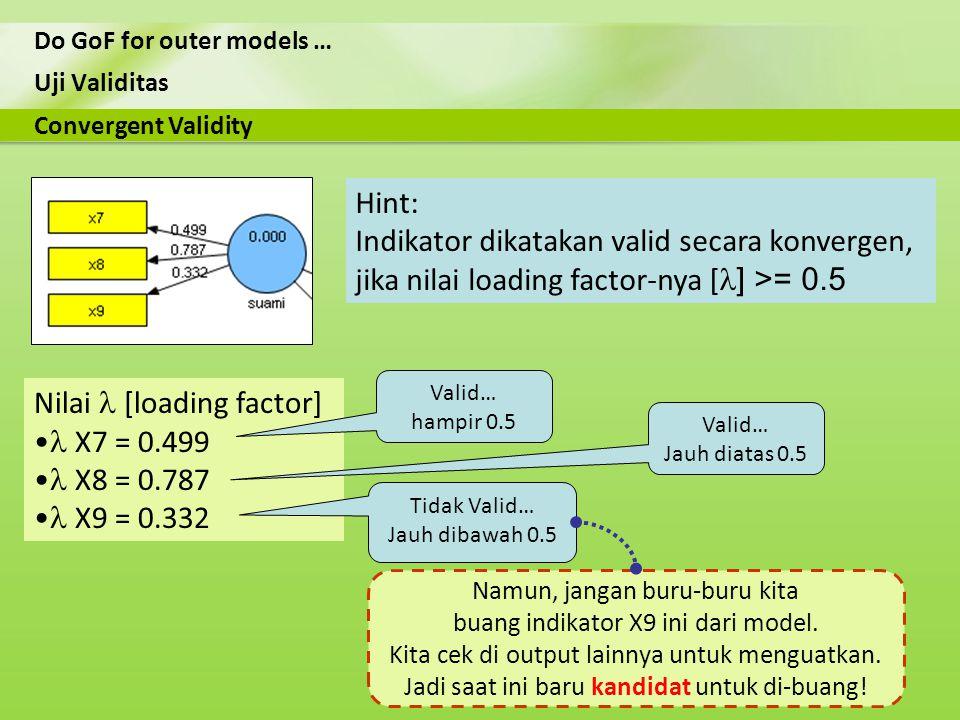 Uji Validitas Do GoF for outer models … Nilai [loading factor] X7 = 0.499 X8 = 0.787 X9 = 0.332 Convergent Validity Hint: Indikator dikatakan valid se