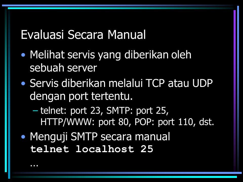 Evaluasi Secara Manual Melihat servis yang diberikan oleh sebuah server Servis diberikan melalui TCP atau UDP dengan port tertentu. –telnet: port 23,