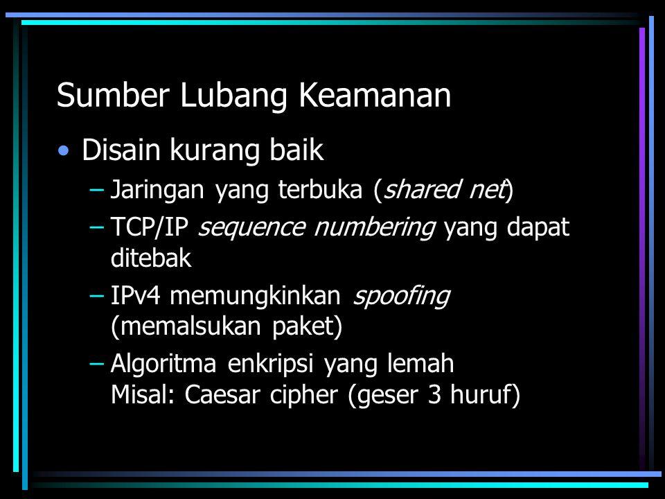 Sumber Lubang Keamanan Disain kurang baik –Jaringan yang terbuka (shared net) –TCP/IP sequence numbering yang dapat ditebak –IPv4 memungkinkan spoofin