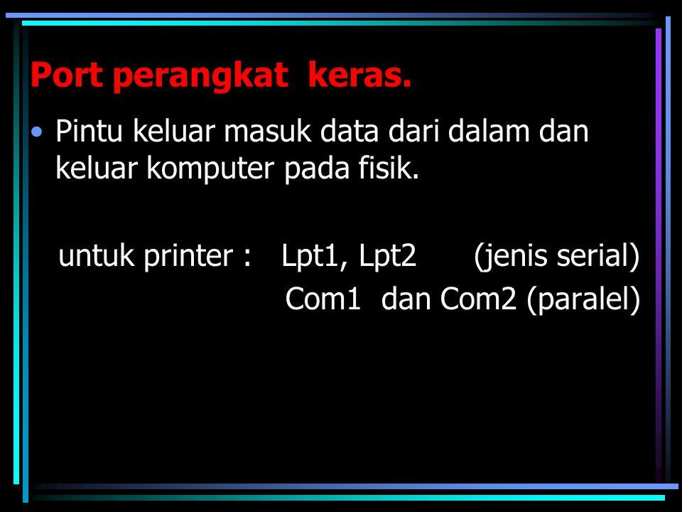 Port perangkat keras. Pintu keluar masuk data dari dalam dan keluar komputer pada fisik. untuk printer : Lpt1, Lpt2 (jenis serial) Com1 dan Com2 (para