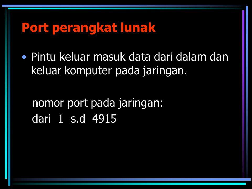 Port perangkat lunak Pintu keluar masuk data dari dalam dan keluar komputer pada jaringan. nomor port pada jaringan: dari 1 s.d 4915
