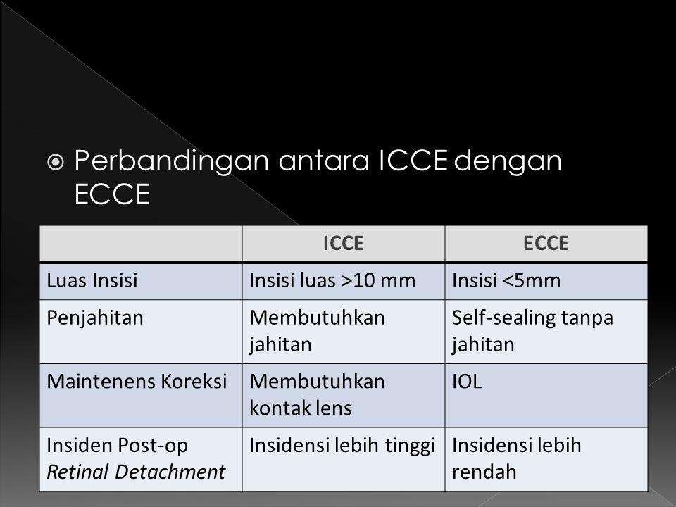  Perbandingan antara ICCE dengan ECCE ICCEECCE Luas InsisiInsisi luas >10 mmInsisi <5mm PenjahitanMembutuhkan jahitan Self-sealing tanpa jahitan Main