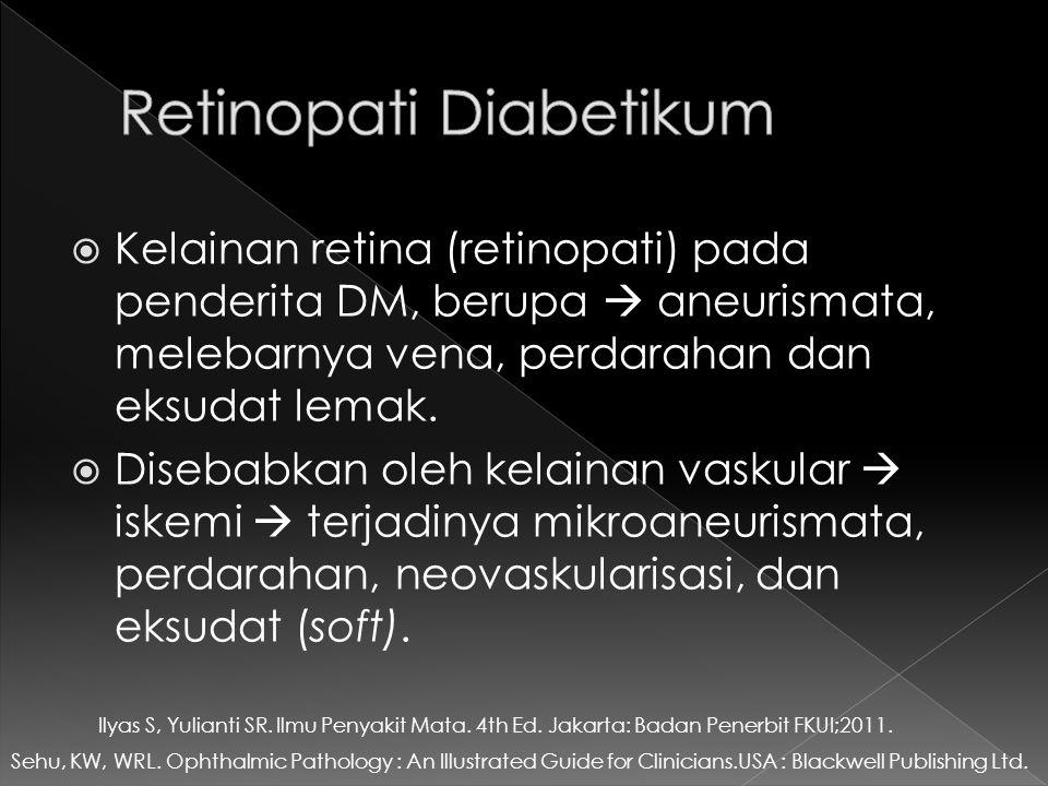  Kelainan retina (retinopati) pada penderita DM, berupa  aneurismata, melebarnya vena, perdarahan dan eksudat lemak.  Disebabkan oleh kelainan vask