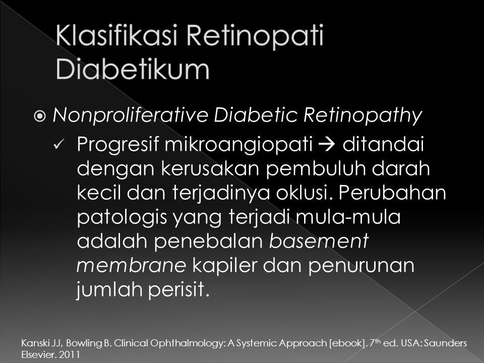  Nonproliferative Diabetic Retinopathy Progresif mikroangiopati  ditandai dengan kerusakan pembuluh darah kecil dan terjadinya oklusi. Perubahan pat