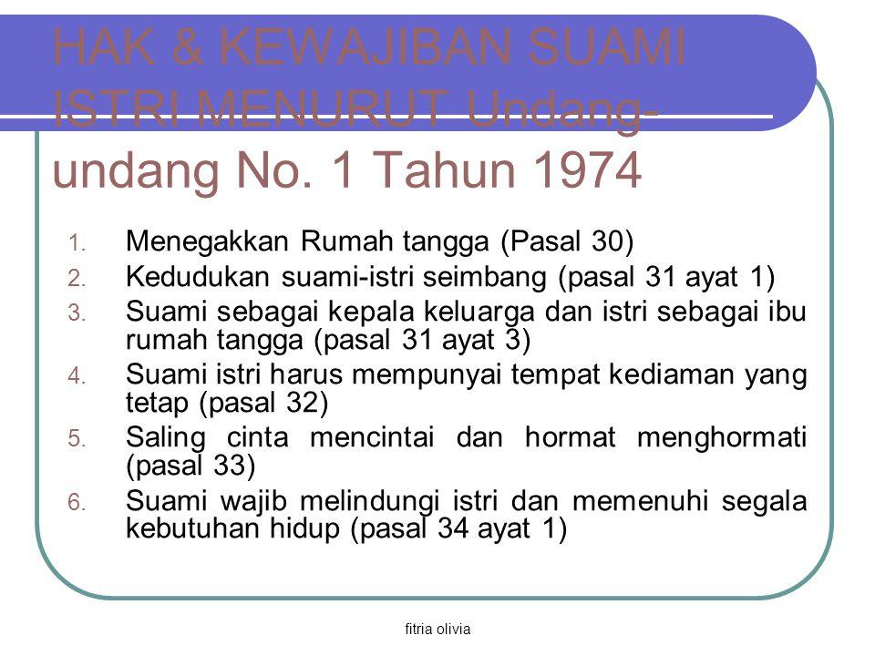 fitria olivia HAK & KEWAJIBAN SUAMI ISTRI MENURUT Undang- undang No. 1 Tahun 1974 1. Menegakkan Rumah tangga (Pasal 30) 2. Kedudukan suami-istri seimb