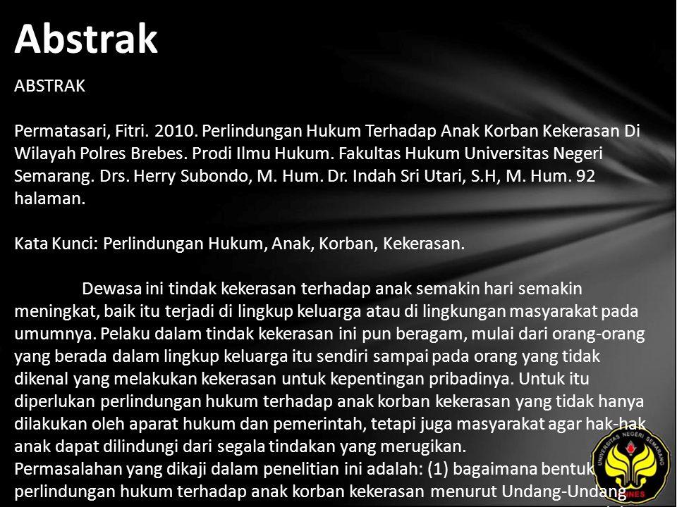 Abstrak ABSTRAK Permatasari, Fitri. 2010.