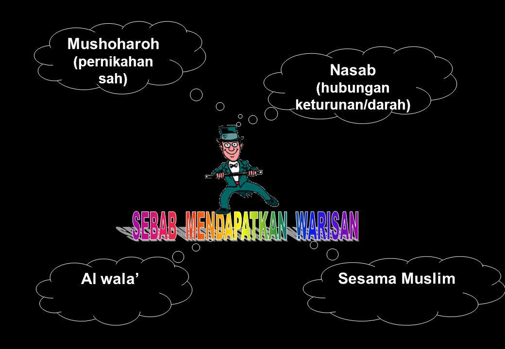 Mushoharoh (pernikahan sah) Nasab (hubungan keturunan/darah) Sesama Muslim Al wala'
