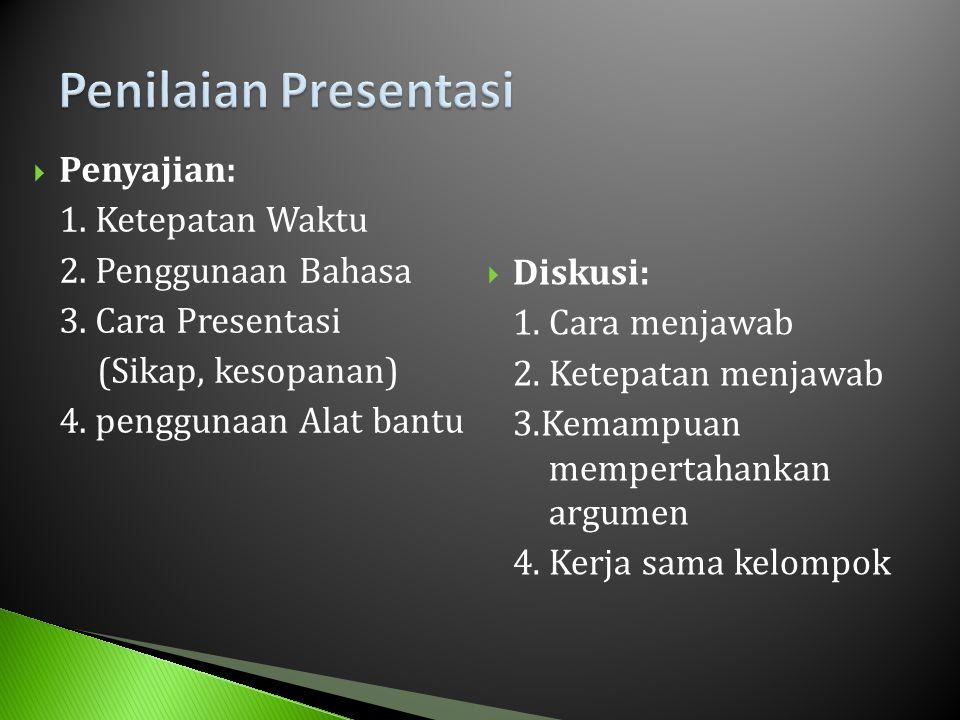  Penyajian: 1. Ketepatan Waktu 2. Penggunaan Bahasa 3. Cara Presentasi (Sikap, kesopanan) 4. penggunaan Alat bantu  Diskusi: 1. Cara menjawab 2. Ket