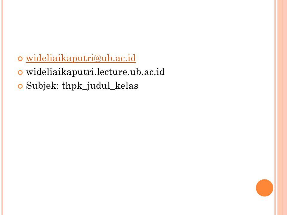 wideliaikaputri@ub.ac.id wideliaikaputri.lecture.ub.ac.id Subjek: thpk_judul_kelas
