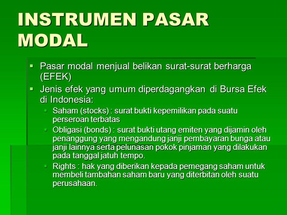 INSTRUMEN PASAR MODAL  Pasar modal menjual belikan surat-surat berharga (EFEK)  Jenis efek yang umum diperdagangkan di Bursa Efek di Indonesia:  Sa