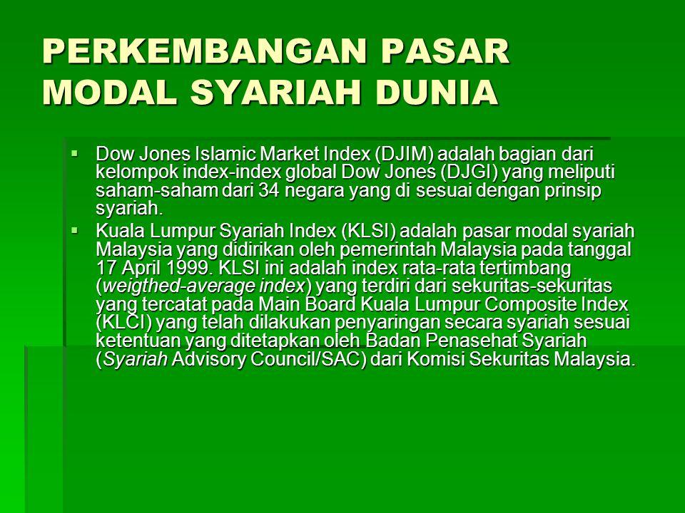 PERKEMBANGAN PASAR MODAL SYARIAH DUNIA…lanjutan  RHBIMI adalah pasar modal syariah pertama di Malaysia yang diperkenalkan oleh Rashid Hussein group Malaysia pada tanggal 1 Juni 1992.