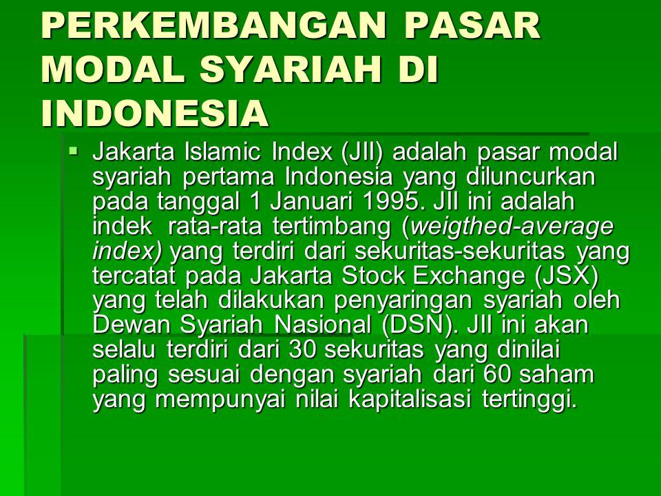 PERKEMBANGAN PASAR MODAL SYARIAH DI INDONESIA  Jakarta Islamic Index (JII) adalah pasar modal syariah pertama Indonesia yang diluncurkan pada tanggal