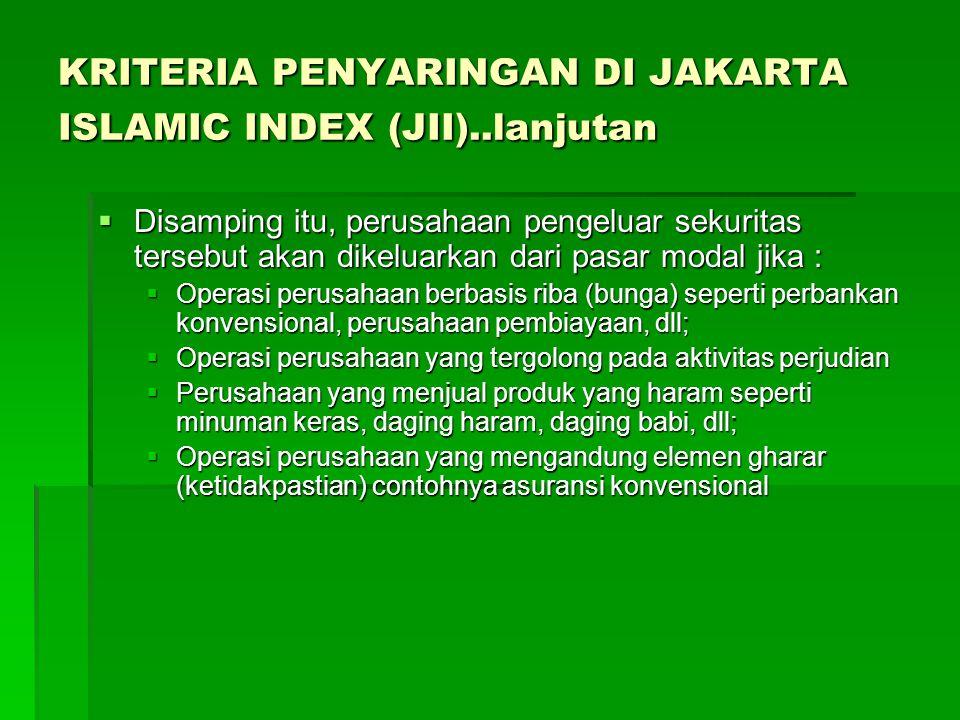 KRITERIA PENYARINGAN DI JAKARTA ISLAMIC INDEX (JII)..lanjutan  Disamping itu, perusahaan pengeluar sekuritas tersebut akan dikeluarkan dari pasar mod