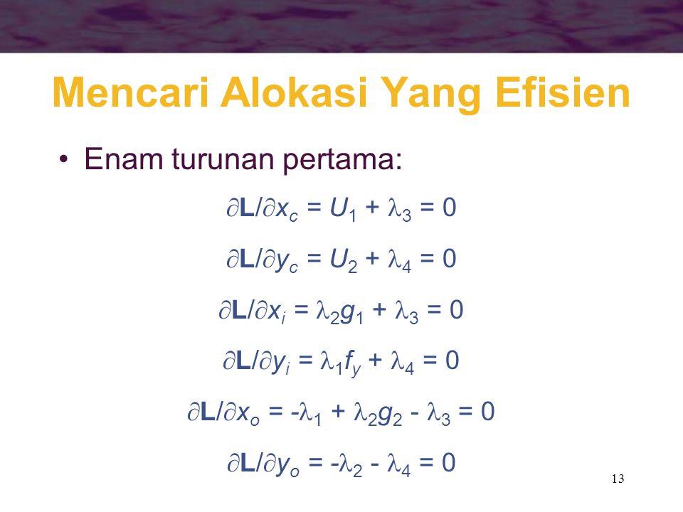 13 Mencari Alokasi Yang Efisien Enam turunan pertama:  L/  x c = U 1 + 3 = 0  L/  y c = U 2 + 4 = 0  L/  x i = 2 g 1 + 3 = 0  L/  y i = 1 f y