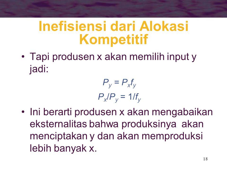 18 Inefisiensi dari Alokasi Kompetitif Tapi produsen x akan memilih input y jadi: P y = P x f y P x /P y = 1/f y Ini berarti produsen x akan mengabaikan eksternalitas bahwa produksinya akan menciptakan y dan akan memproduksi lebih banyak x.