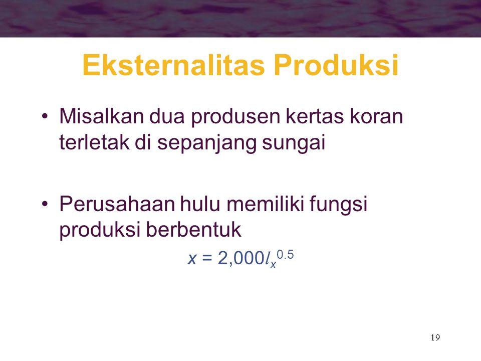 19 Eksternalitas Produksi Misalkan dua produsen kertas koran terletak di sepanjang sungai Perusahaan hulu memiliki fungsi produksi berbentuk x = 2,000 l x 0.5