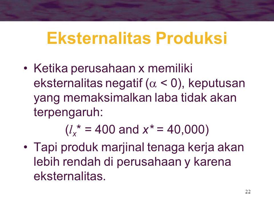 22 Eksternalitas Produksi Ketika perusahaan x memiliki eksternalitas negatif (  < 0), keputusan yang memaksimalkan laba tidak akan terpengaruh: ( l x * = 400 and x* = 40,000) Tapi produk marjinal tenaga kerja akan lebih rendah di perusahaan y karena eksternalitas.