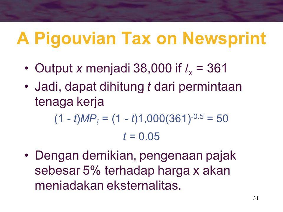 31 A Pigouvian Tax on Newsprint Output x menjadi 38,000 if l x = 361 Jadi, dapat dihitung t dari permintaan tenaga kerja (1 - t)MP l = (1 - t)1,000(361) -0.5 = 50 t = 0.05 Dengan demikian, pengenaan pajak sebesar 5% terhadap harga x akan meniadakan eksternalitas.
