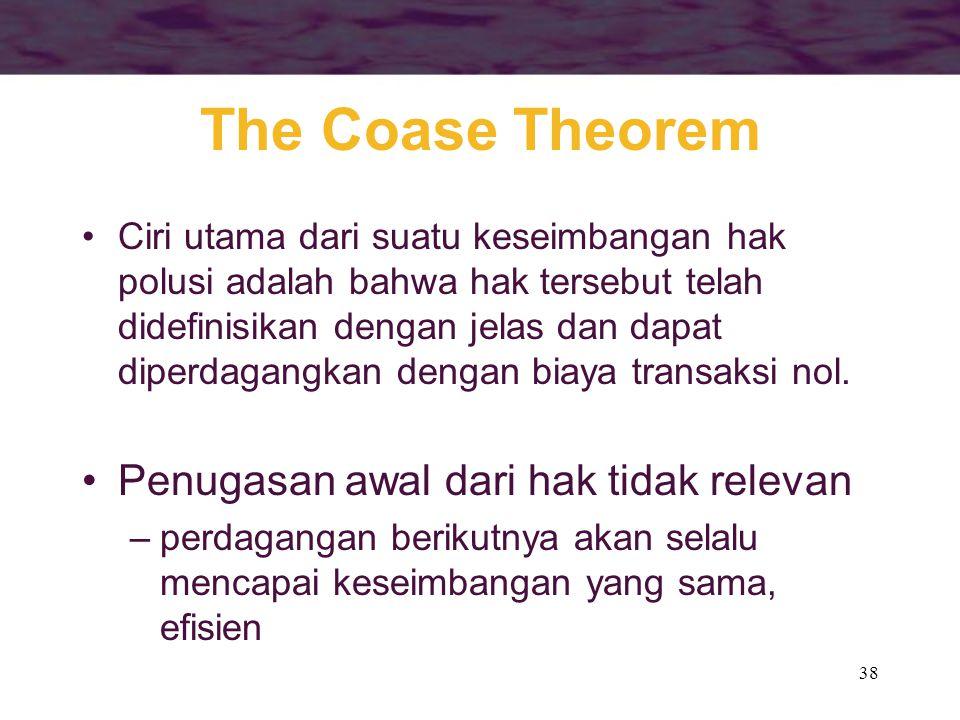 38 The Coase Theorem Ciri utama dari suatu keseimbangan hak polusi adalah bahwa hak tersebut telah didefinisikan dengan jelas dan dapat diperdagangkan dengan biaya transaksi nol.