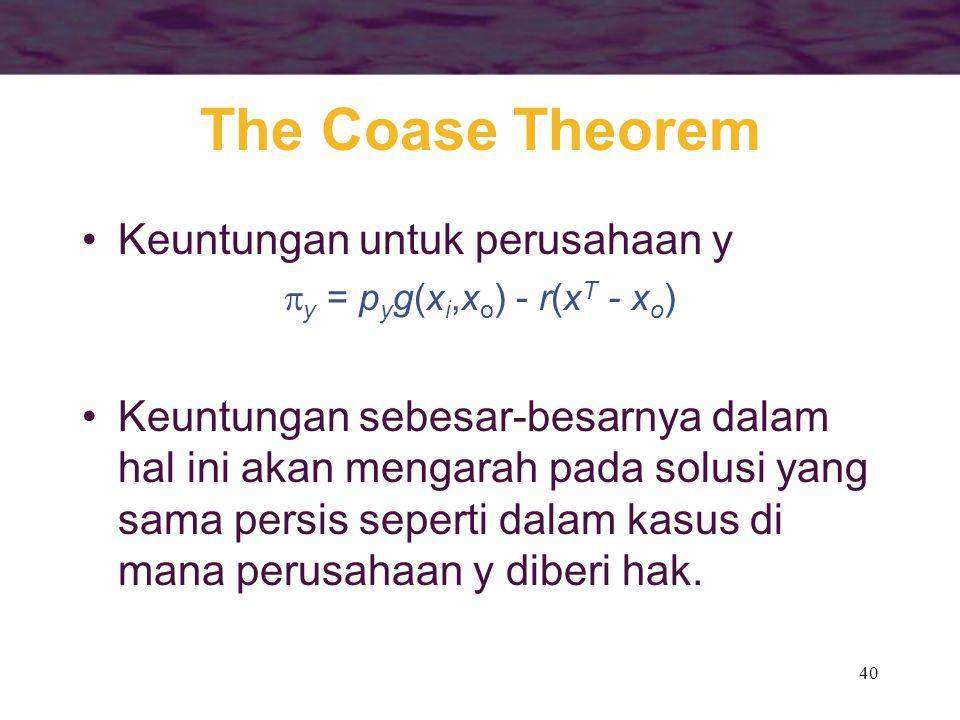 40 The Coase Theorem Keuntungan untuk perusahaan y  y = p y g(x i,x o ) - r(x T - x o ) Keuntungan sebesar-besarnya dalam hal ini akan mengarah pada solusi yang sama persis seperti dalam kasus di mana perusahaan y diberi hak.