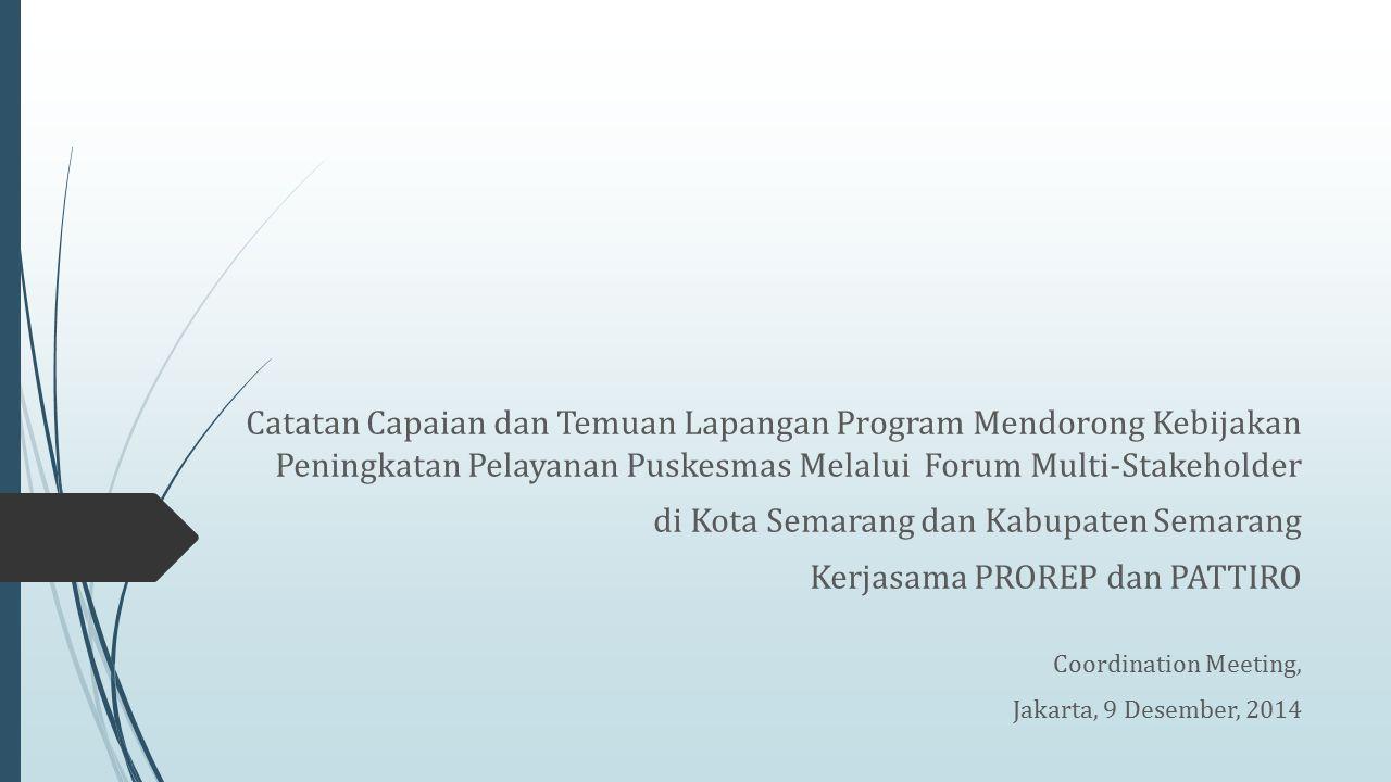 Catatan Capaian dan Temuan Lapangan Program Mendorong Kebijakan Peningkatan Pelayanan Puskesmas Melalui Forum Multi-Stakeholder di Kota Semarang dan K