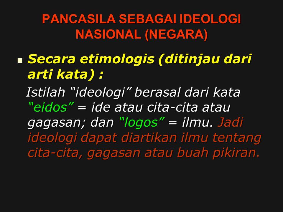 """PANCASILA SEBAGAI IDEOLOGI NASIONAL (NEGARA) Secara etimologis (ditinjau dari arti kata) : Secara etimologis (ditinjau dari arti kata) : Istilah """"ideo"""