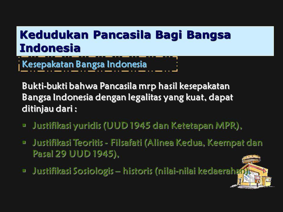 Kedudukan Pancasila Bagi Bangsa Indonesia Kesepakatan Bangsa Indonesia Bukti-bukti bahwa Pancasila mrp hasil kesepakatan Bangsa Indonesia dengan legal