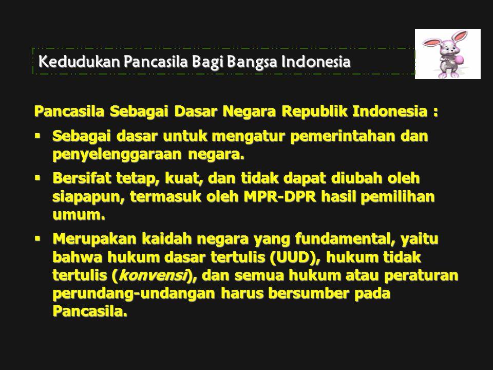 Kedudukan Pancasila Bagi Bangsa Indonesia Pancasila Sebagai Dasar Negara Republik Indonesia :  Sebagai dasar untuk mengatur pemerintahan dan penyelen