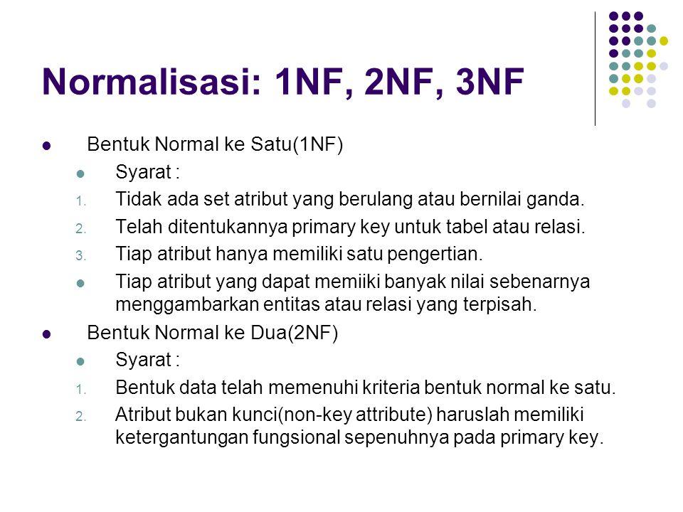 Normalisasi: 1NF, 2NF, 3NF Bentuk Normal ke Satu(1NF) Syarat : 1. Tidak ada set atribut yang berulang atau bernilai ganda. 2. Telah ditentukannya prim