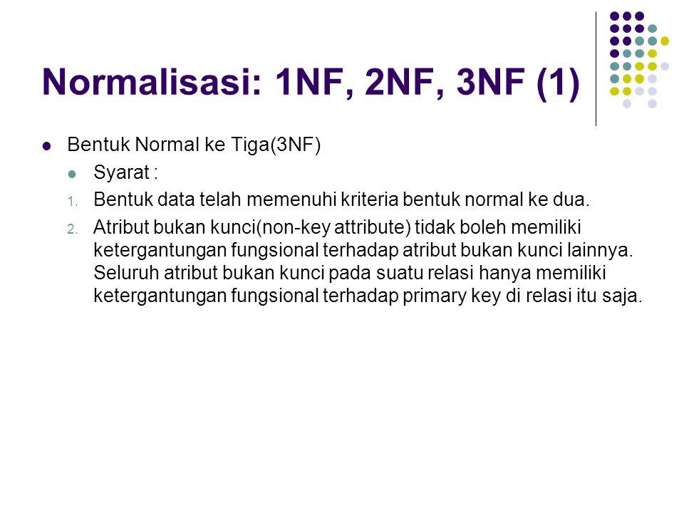 Normalisasi: 1NF, 2NF, 3NF (1) Bentuk Normal ke Tiga(3NF) Syarat : 1. Bentuk data telah memenuhi kriteria bentuk normal ke dua. 2. Atribut bukan kunci
