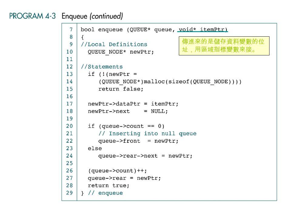 傳進來的是儲存資料變數的位 址,用區域指標變數來接。