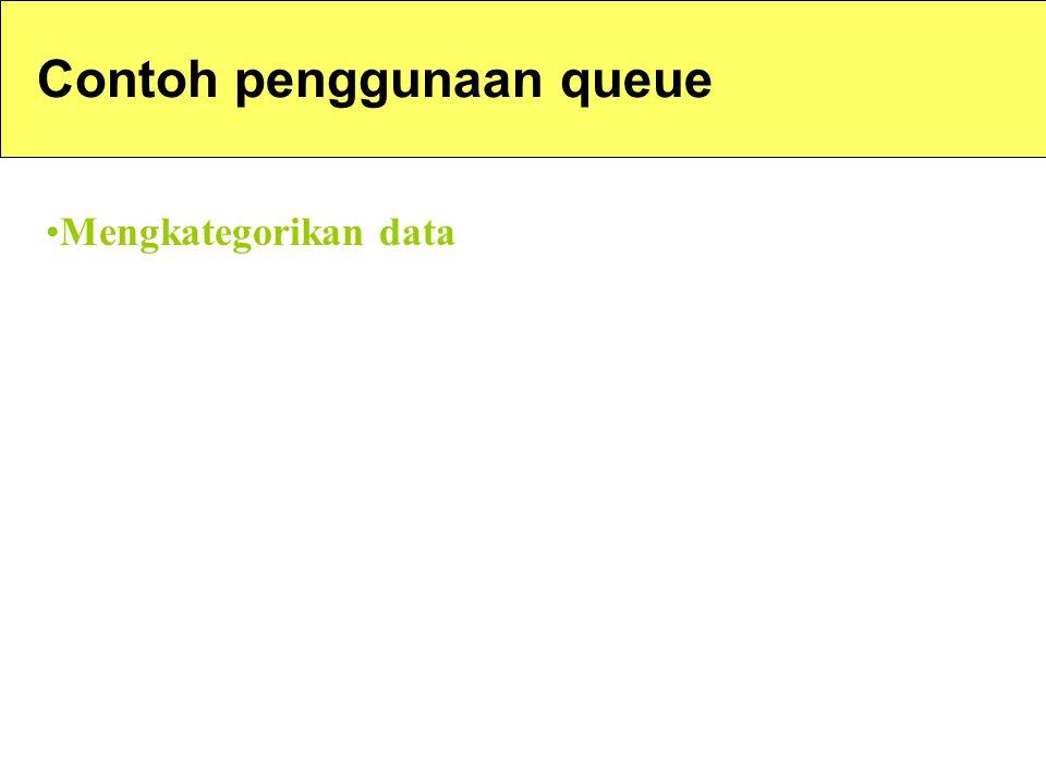 Contoh penggunaan queue Mengkategorikan data